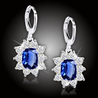 Náušnice Crystal Queen - květinové modré