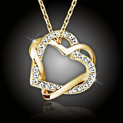 Propletená velká srdce s kameny Swarovski Elements, pozlacená