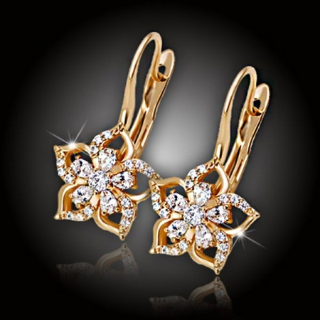 Náušnice Brillance Flower Queen Gold