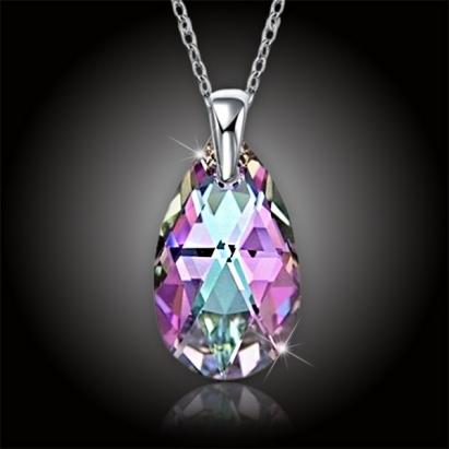 Krystal kapka Swarovski - Vitrail Light + stříbrný řetízek