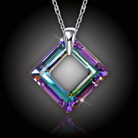 Krystal Square Ring Swarovski Vitrail Light a stříbrný řetízek