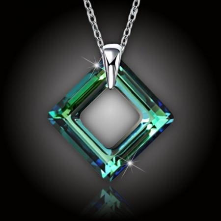 Krystal Square Ring Swarovski Bermuda Blue a stříbrný řetízek