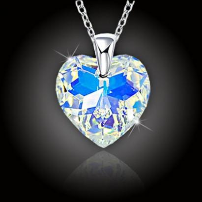 Srdce Swarovski Crystal AB a stříbrný řetízek