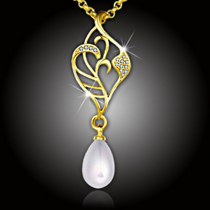 Pozlacený perlový náhrdelník Elfie White Pearl