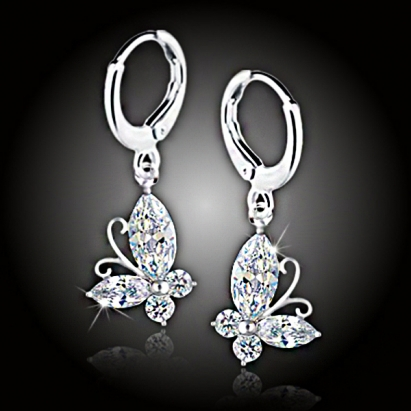 Náušnice La Diamantina Crystal Butterfly