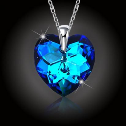 Srdce Swarovski Bermuda Blue a stříbrný řetízek