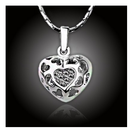 Amulet srdce vykládaný krystaly Swarovski Elements