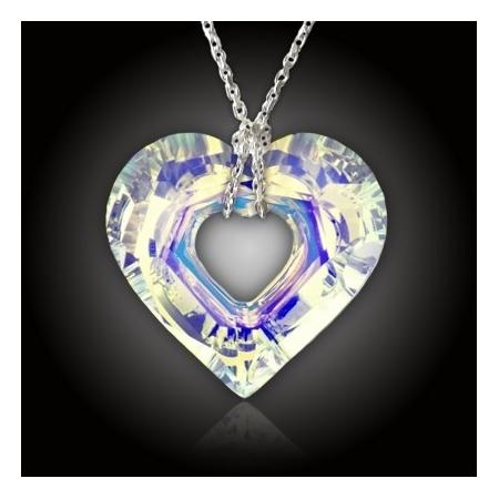 Velké duhové srdce SWE + stříbrný řetízek