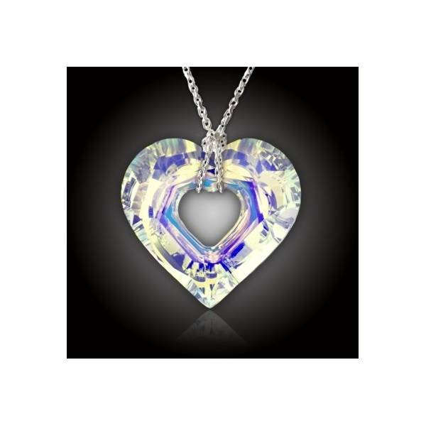 f13eb8275 Duhové srdce Swarovski AB + stříbrný řetízek - ELANIS.CZ